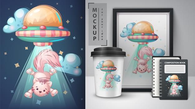 Ufo cat - plakat i merchandising