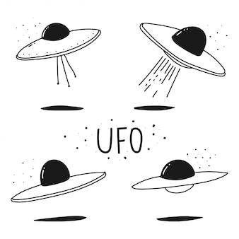 Ufo doodle ręcznie rysowane zestaw na białym tle