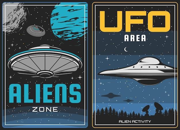 Ufo kosmici i przestrzeń kosmiczna, planety wszechświata, plakat vintage. inwazja kosmitów i tajemnica galaktyki, fikcyjne życie na niebie, statek kosmiczny ufo lub statek kosmiczny na księżycu, uprowadzenia i atak kosmitów
