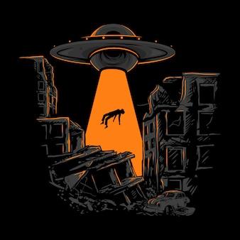 Ufo kosmici ludzki myśliwy ilustracja rysunek