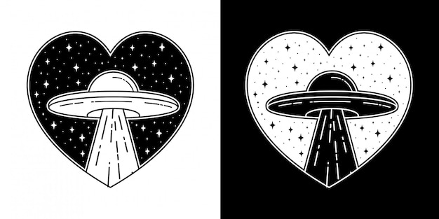 Ufo love badge tattoo monoline design