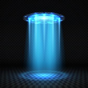 Ufo niebieski promień światła, futurystyczny obcy statek kosmiczny na białym tle ilustracji wektorowych. futurystyczny dysk kosmiczny ufo