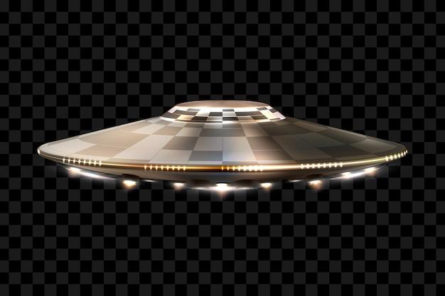 Ufo. niezidentyfikowany obiekt latający. futurystyczne ufo na przezroczystym tle, ilustracja.