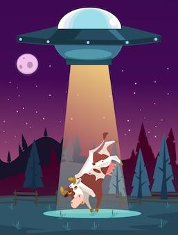 Ufo porywa ilustracja kreskówka krowa