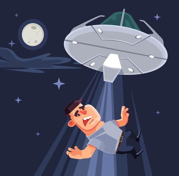 Ufo próbuje uprowadzić ludzkie postacie. ilustracja kreskówka płaska
