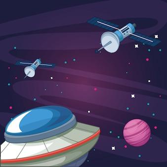 Ufo satelity planety gwiaździste galaktyki eksploracji przestrzeni kosmicznej ilustracji wektorowych