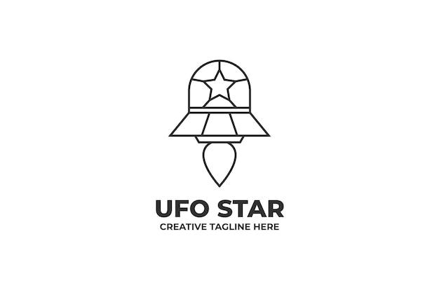 Ufo Star Monoline Logo Premium Wektorów