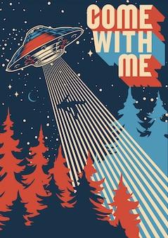 Ufo uprowadza człowieka kolorowy plakat