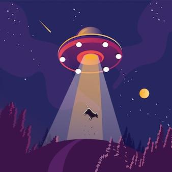 Ufo uprowadza sylwetkę krowy. obcy statek kosmiczny, futurystyczny nieznany latający obiekt, krajobraz nocnej nocy w lesie, tło z gwiazdami i księżyc na niebie.