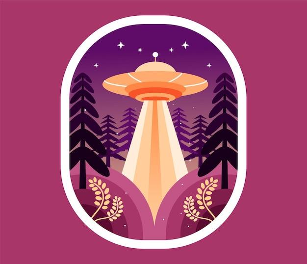 Ufo w lesie w nocy
