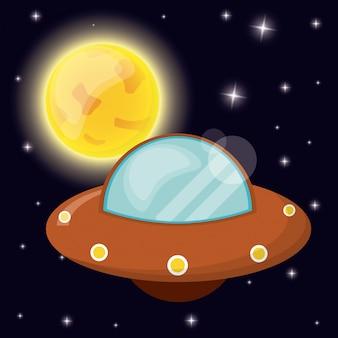 Ufo z orbity przestrzeni słońca