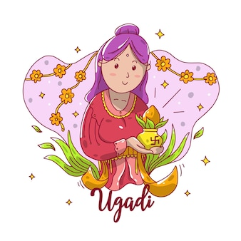 Ugadi girl cartoon