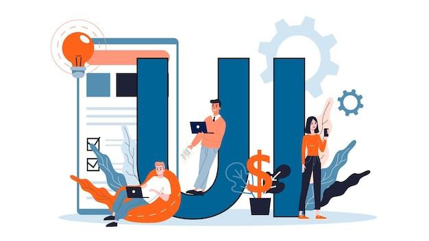 Ui. ulepszenie interfejsu aplikacji dla użytkownika. koncepcja nowoczesnej technologii. ilustracja