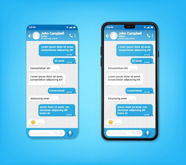 Ui ux telefon czat niebieski interfejs. sms na telefon komórkowy. wysylanie smsów bąble w mobilnym zastosowaniu na smartphone, wektor