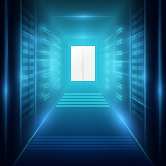 Ujęcie korytarza w działającym centrum danych pełnym serwerów rackowych i superkomputerów
