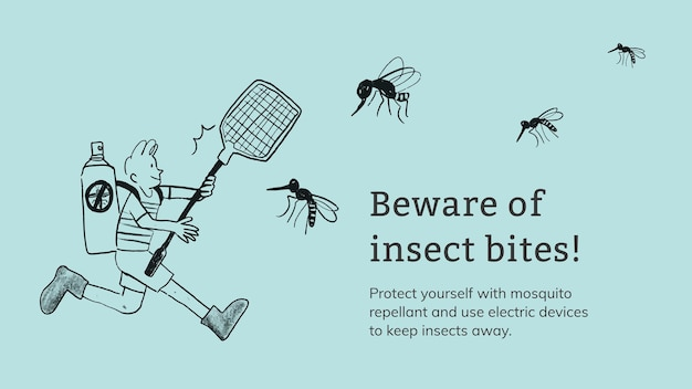 Ukąszenia owadów szablon wektor prezentacja opieki zdrowotnej