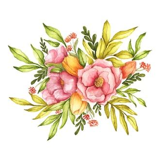 Układ akwarela kompozycja kwiatowa