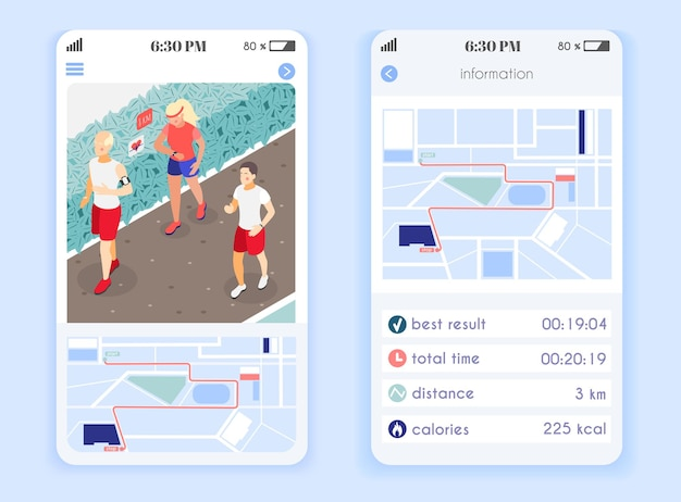 Układ aplikacji mobilnej family fitness z informacjami o wynikach, dystansie i spalonych kaloriach izometryczny