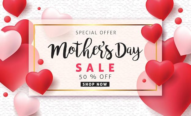 Układ banera na dzień matki z balonami w kształcie serca