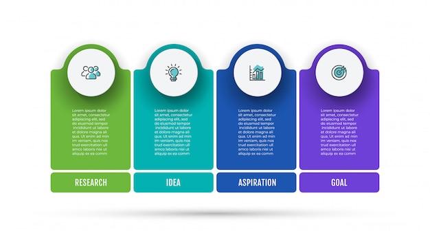 Układ business infographic z ikonami marketingu i 4 opcjami, krokami lub procesami.