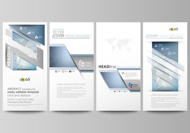 Układ czterech nowoczesnych pionowych banerów, ulotek projektuje szablony biznesowe.
