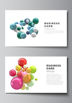 Układ dwóch kreatywnych szablonów wizytówek, poziomy projekt szablonu. streszczenie futurystyczne tło z kolorowych kulek 3d, błyszczące bąbelki, kulki.