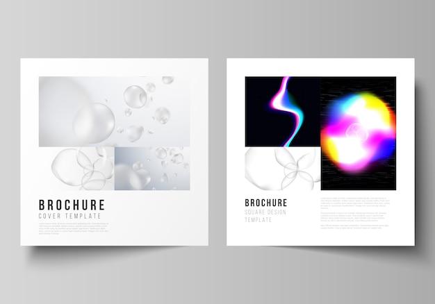 Układ dwóch kwadratowych formatów obejmuje szablony broszury