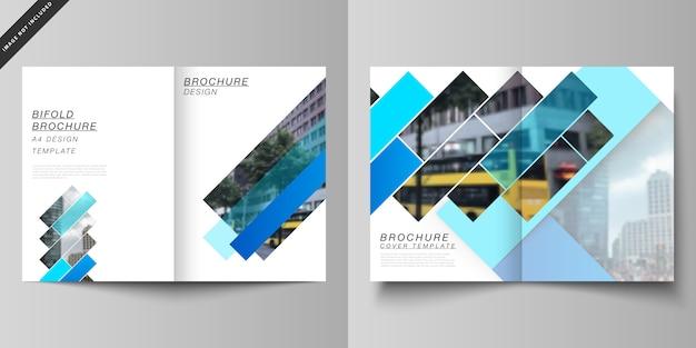 Układ dwóch nowoczesnych szablonów okładek formatu a4 do broszury bifold