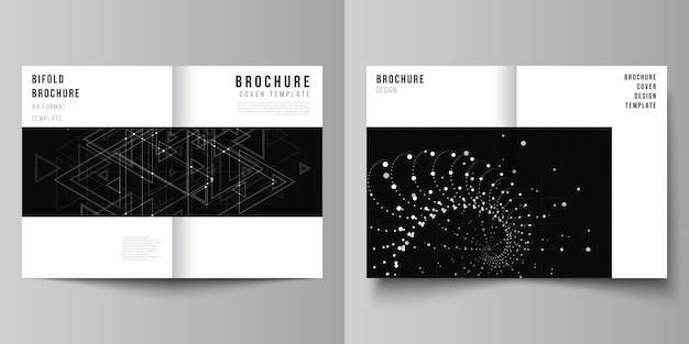 Układ dwóch szablonów makiet okładek a4 do broszury bifold