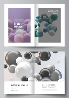 Układ dwóch szablonów makiet okładek a4 do broszury składanej, ulotki, magazynu, projektu okładki, projektu książki. streszczenie futurystyczne tło z kolorowych kulek 3d, błyszczące bąbelki, kulki.