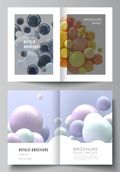 Układ dwóch szablonów okładek a4 dla broszury składanej, ulotki, magazynu, projektu okładki, projektu książki, okładki broszury. realistyczne tło z wielobarwnymi sferami 3d, bąbelkami, kulkami