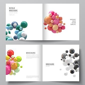 Układ dwóch szablonów okładek dla broszury kwadratowej bifold