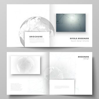 Układ dwóch szablonów okładek do kwadratowej broszury bifold, futurystyczny geometryczny