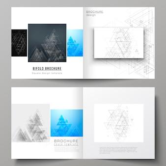 Układ dwóch szablonów okładek do kwadratowej broszury bifold