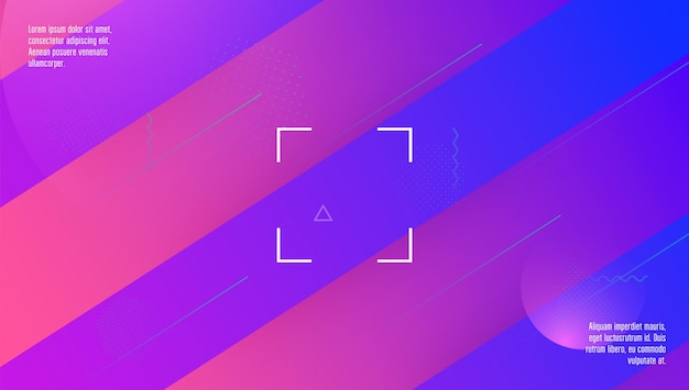 Układ geometryczny. fioletowy modny plakat. strona hipsterska. dynamiczny kształt 3d. element tęczy. kolorowa strona docelowa. streszczenie okładka. kolorowe zaproszenie. magenta geometryczny układ