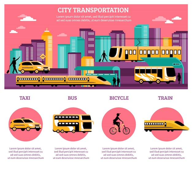 Układ infografiki transportu miejskiego