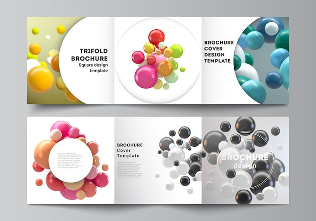 Układ kwadratów obejmuje szablony do broszury składanej na trzy części z kolorowymi kulkami 3d, błyszczącymi bąbelkami, kulkami.