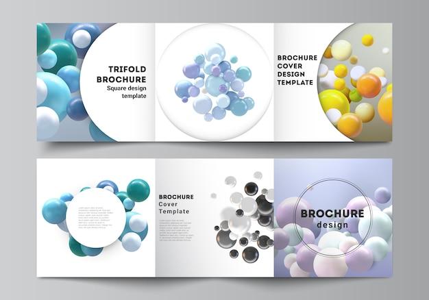 Układ kwadratowego formatu obejmuje szablony dla potrójnej broszury, ulotki, czasopisma, projektu okładki, projektu książki. realistyczne tło z wielokolorowe kule 3d, pęcherzyki, piłki.