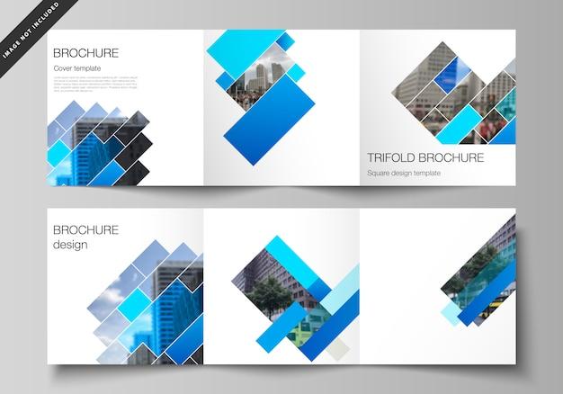 Układ kwadratowego formatu obejmuje szablony dla potrójnej broszury