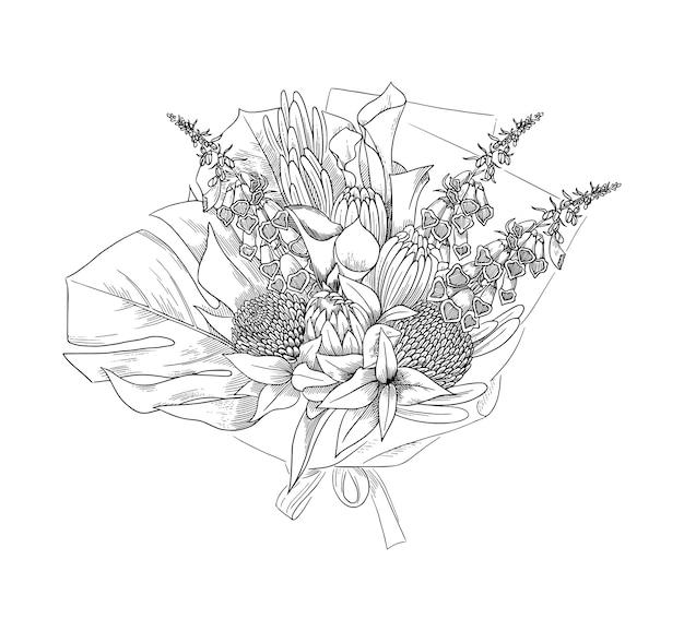Układ kwiatowy, ręcznie rysowane szkic, ilustracja. piękny bukiet kwiatów z liśćmi palmy monstera, lilią calla, piwoniami, naparstnicami.
