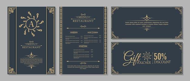 Układ menu z elementami ozdobnymi.