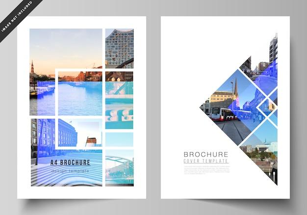 Układ nowoczesnych szablonów okładek formatu a4 dla broszury, czasopisma, ulotki, broszury, raportu rocznego.