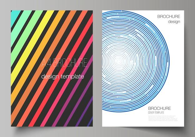 Układ nowoczesnych szablonów okładek formatu a4 do broszury