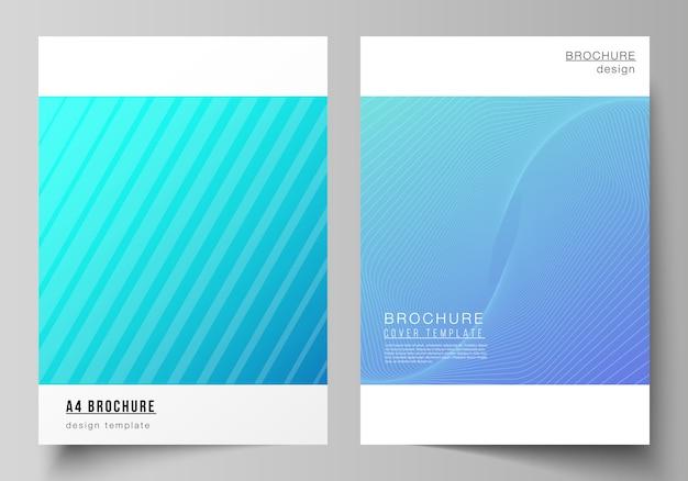 Układ nowoczesnych szablonów okładek w formacie a4 do broszury, streszczenie geometryczne