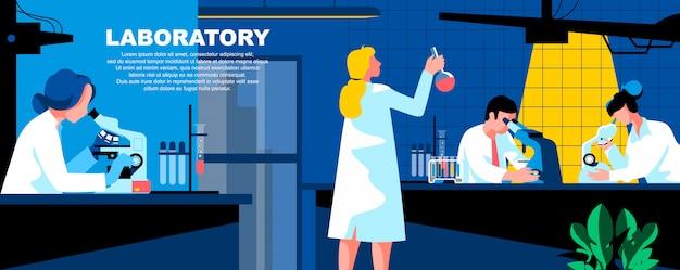 Układ płaski szablon strony docelowej laboratorium płaskie baner.