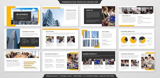 Układ prezentacji biznesowych w minimalistycznym stylu