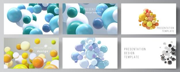 Układ prezentacji slajdy projektowanie szablonów biznesowych, uniwersalny szablon do prezentacji broszura, raport. realistyczne tło z wielobarwnymi sferami 3d, bąbelkami, kulkami.