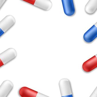 Układ ramki na białym tle realistyczne tabletki