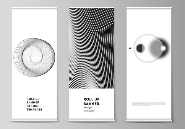 Układ rolowanych stojaków banerowych, ulotek pionowych, szablonów biznesowych do projektowania flag. geometryczne streszczenie tło, futurystyczna koncepcja nauki i technologii dla minimalistycznego projektu.