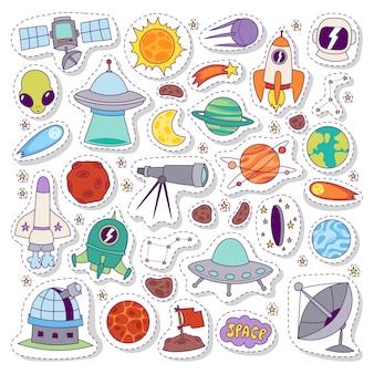Układ słoneczny astronomia naklejki wektor zestaw.